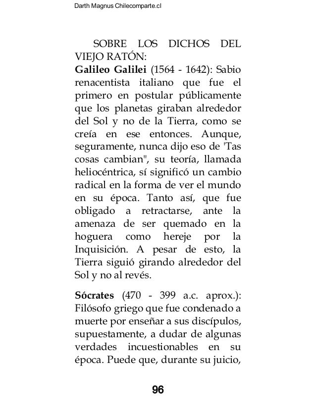 Darth Magnus Chilecomparte.cl 96 SOBRE LOS DICHOS DEL VIEJO RATÓN: Galileo Galilei (1564 - 1642): Sabio renacentista itali...