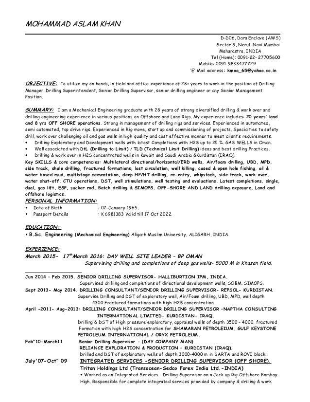 MOHAMMAD ASLAM KHAN D-D06, Dara Enclave (AWS) Sector-9, Nerul, Navi Mumbai Maharastra, INDIA Tel (Home): 0091-22- 27705600...