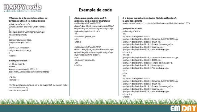 """EMDAY Exemple de code //Exemple de style pour iphone et tous les devices qui utilisent les médias queries <style type=""""tex..."""