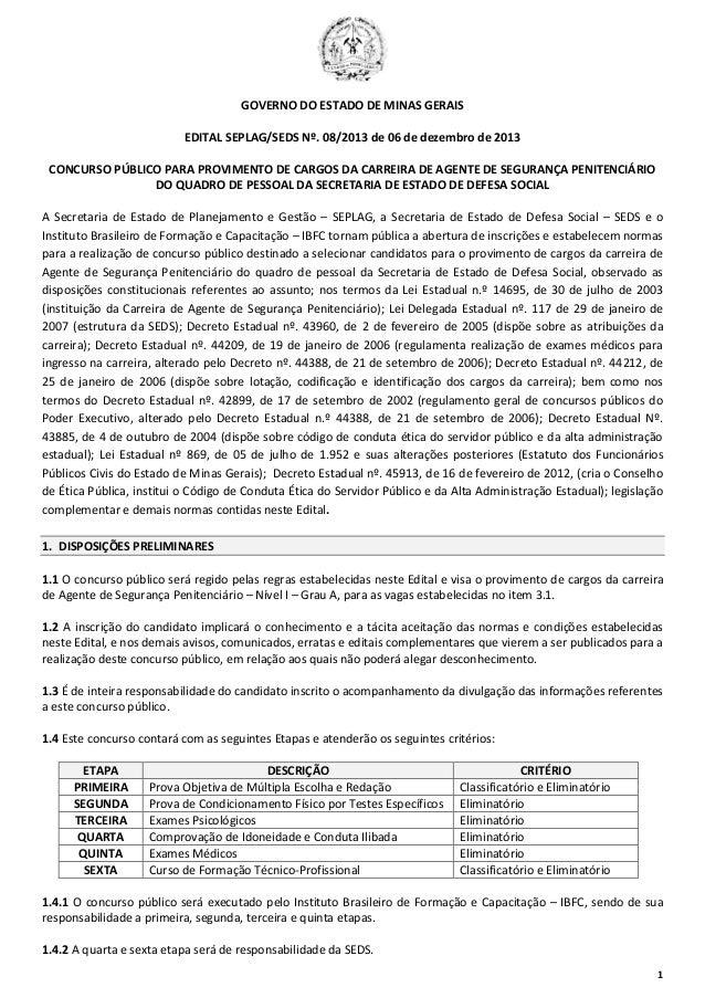 1 GOVERNO DO ESTADO DE MINAS GERAIS EDITAL SEPLAG/SEDS Nº. 08/2013 de 06 de dezembro de 2013 CONCURSO PÚBLICO PARA PROVIME...