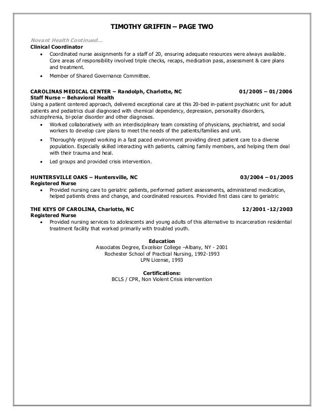 Resume Draft Of Timothy Griffin 2015