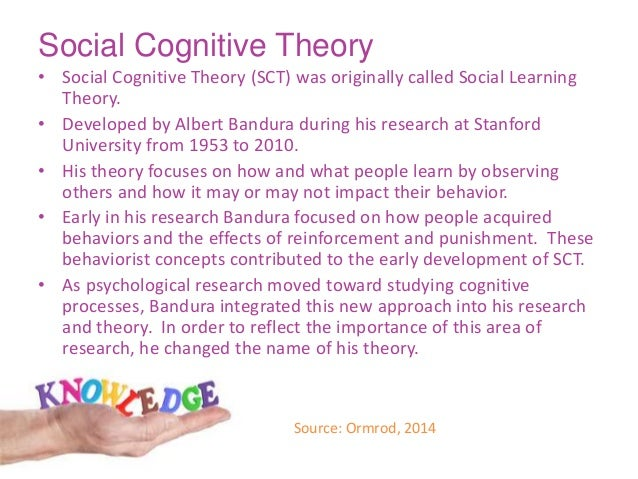 cognitive social learning theory Social learning theory of albert bandura (1977): lou (2013) opined that bandura proposed the concept of social cognitive theory.