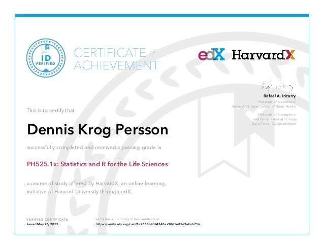 Certificate - Statistics and R for life sciences