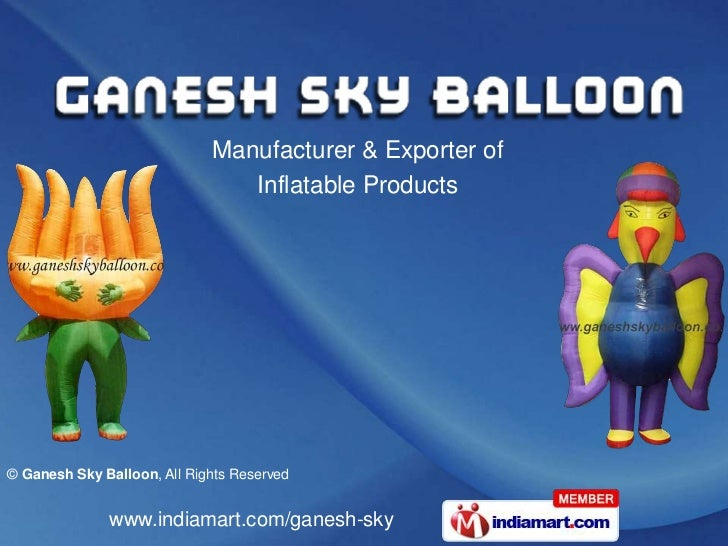 Manufacturer & Exporter of <br />Inflatable Products<br />