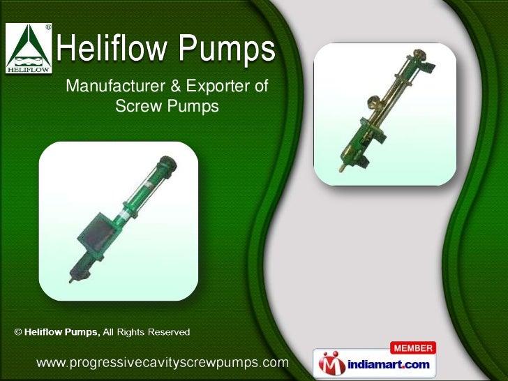Manufacturer & Exporter of     Screw Pumps