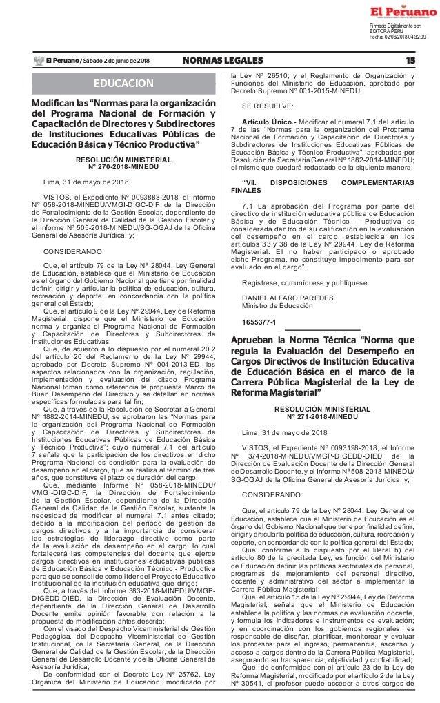 """15NORMAS LEGALESSábado 2 de junio de 2018El Peruano / EDUCACION Modifican las """"Normas para la organización del Programa Na..."""