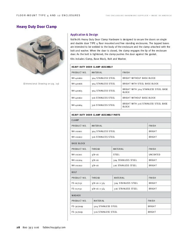 FLOOR MOUNT TYPE 4 AND 12 ENCLOSURES; 28.  sc 1 st  SlideShare & Fabtech Supply Catalog