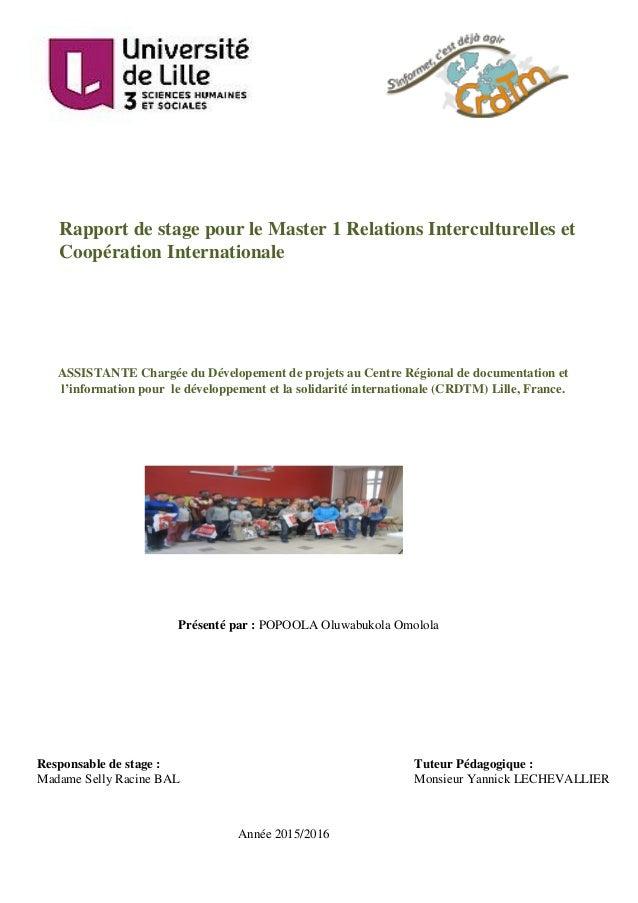 ASSISTANTE Chargée du Dévelopement de projets au Centre Régional de documentation et l'information pour le développement e...