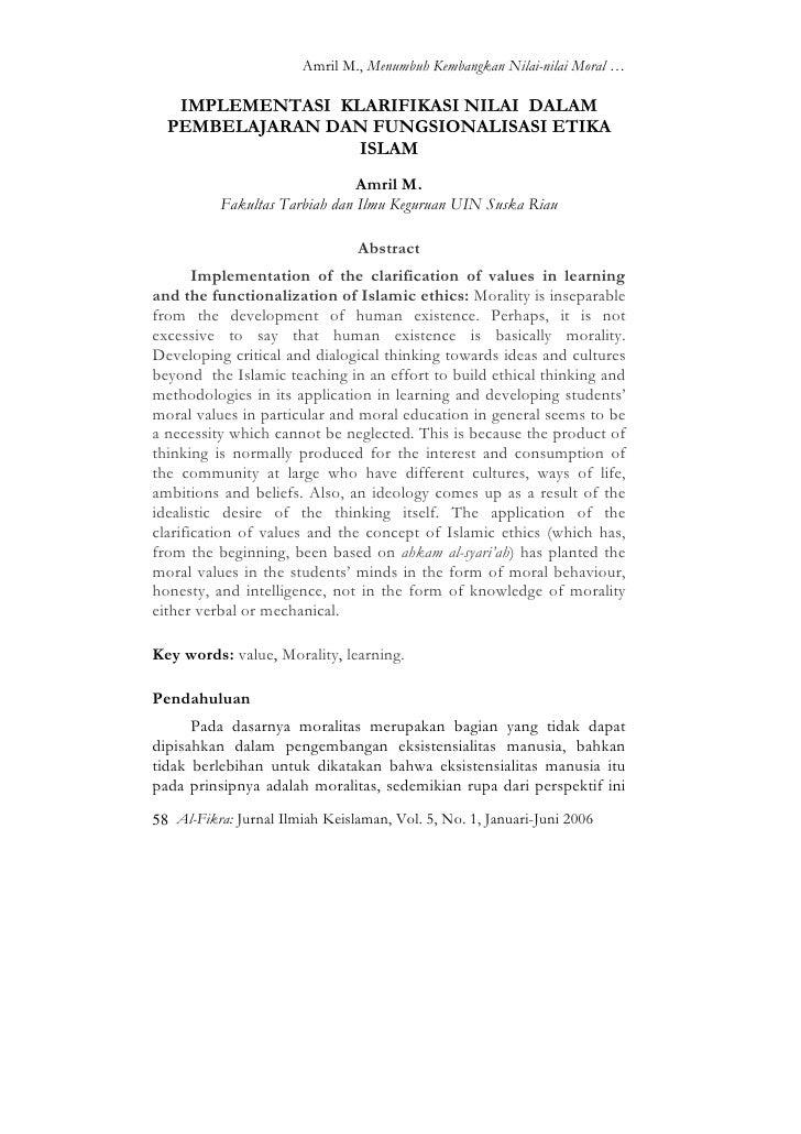 Amril M., Menumbuh Kembangkan Nilai-nilai Moral …   IMPLEMENTASI KLARIFIKASI NILAI DALAM  PEMBELAJARAN DAN FUNGSIONALISASI...