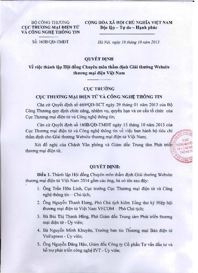 Giải Thưởng Website TMĐT Uy tín Việt nam 2014