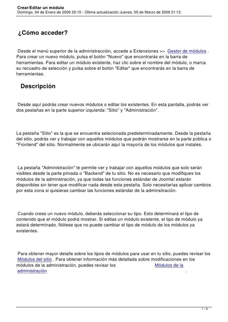 Crear/Editar un módulo Domingo, 04 de Enero de 2009 20:10 - Última actualización Jueves, 05 de Marzo de 2009 21:12     ¿Có...