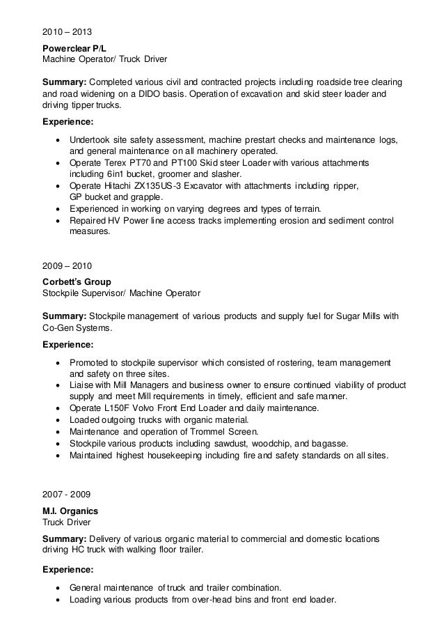 Machine Operator Resume Best