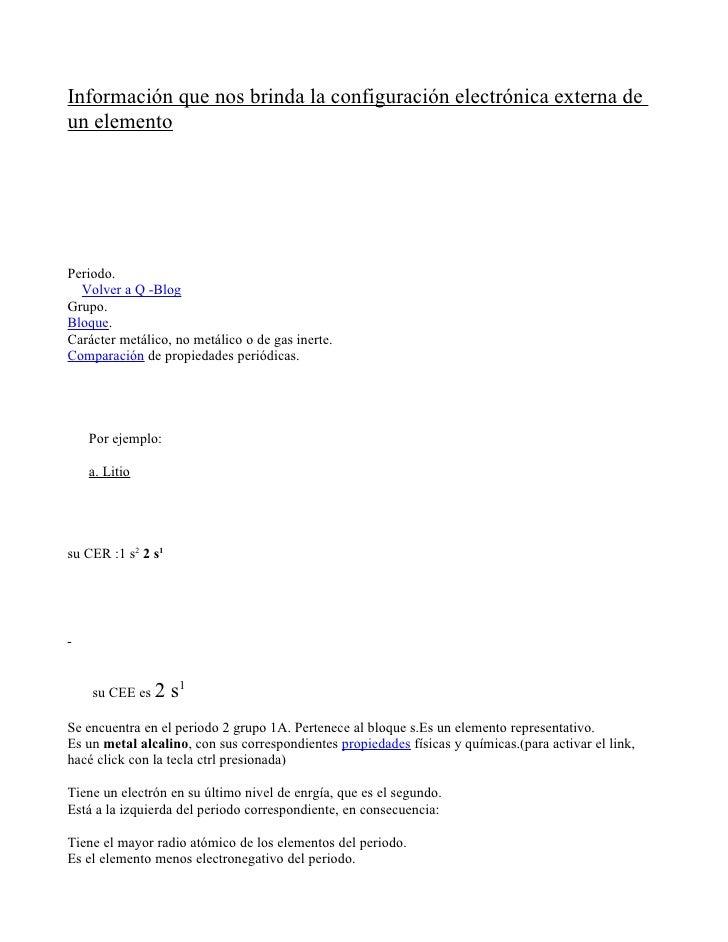 Información que nos brinda la configuración electrónica externa de un elemento     Periodo.   Volver a Q -Blog Grupo. Bloq...