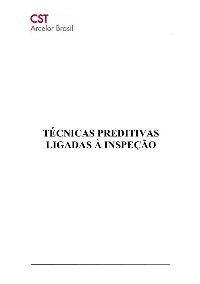 TÉCNICAS PREDITIVAS LIGADAS À INSPEÇÃO