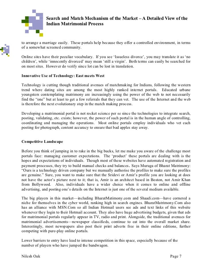 Search and Match Mechanism of the Market – A Detailed View of the               Indian Matrimonial ProcessFORCES OF CHANGE...
