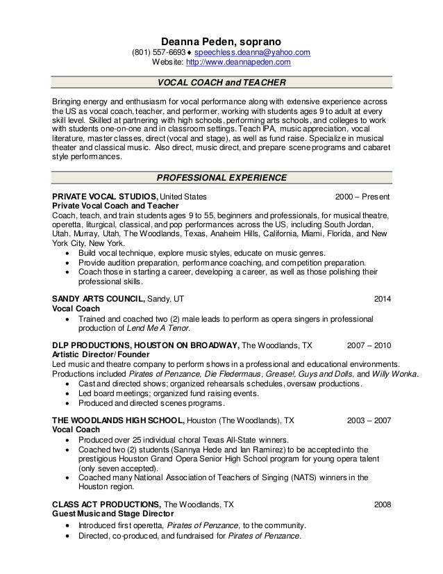 Teaching Resume Peden 2015
