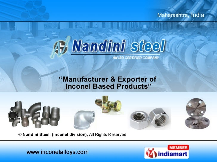 """"""" Manufacturer & Exporter of  Inconel Based Products"""" ©  Nandini Steel, (Inconel division),  All Rights Reserved"""