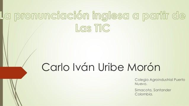 Carlo Iván Uribe Morón Colegio Agroindustrial Puerto Nuevo. Simacota, Santander Colombia.