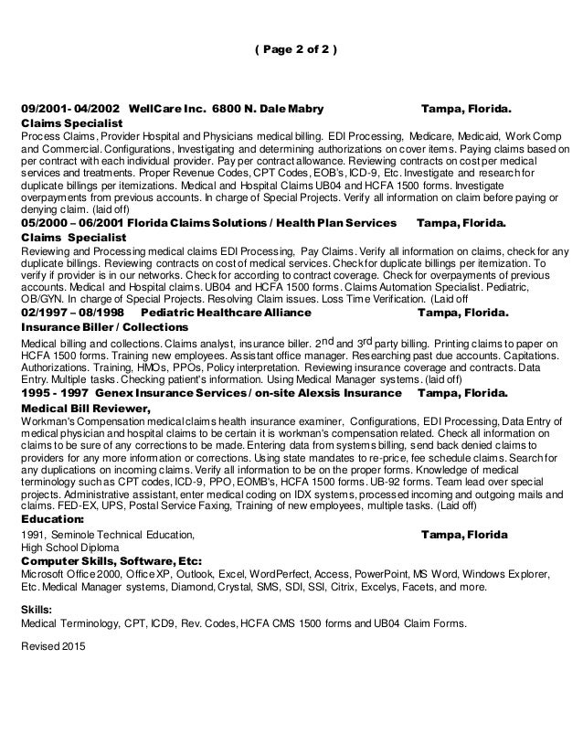 resume of claims specialist healthcare