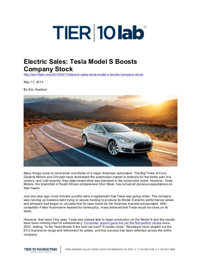 Electric Sales: Tesla Model S Boosts Company Stock http://tier10lab.com/2013/05/17/electric-sales-tesla-model-s-boosts-c...