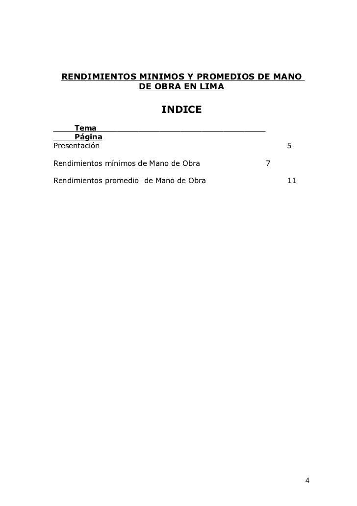 RENDIMIENTOS MINIMOS Y PROMEDIOS DE MANO              DE OBRA EN LIMA                          INDICE     Tema     PáginaP...