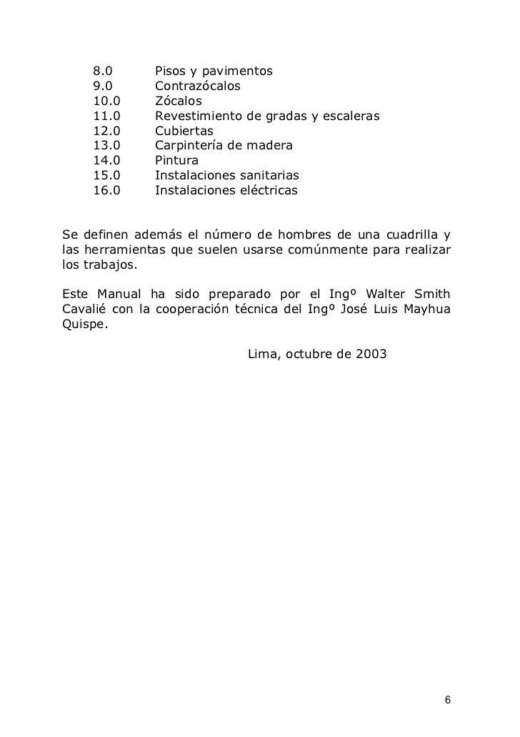 8.0       Pisos y pavimentos    9.0       Contrazócalos    10.0      Zócalos    11.0      Revestimiento de gradas y escale...