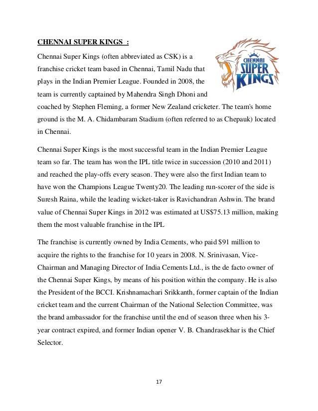Project Report on IPL - Indian Premier League