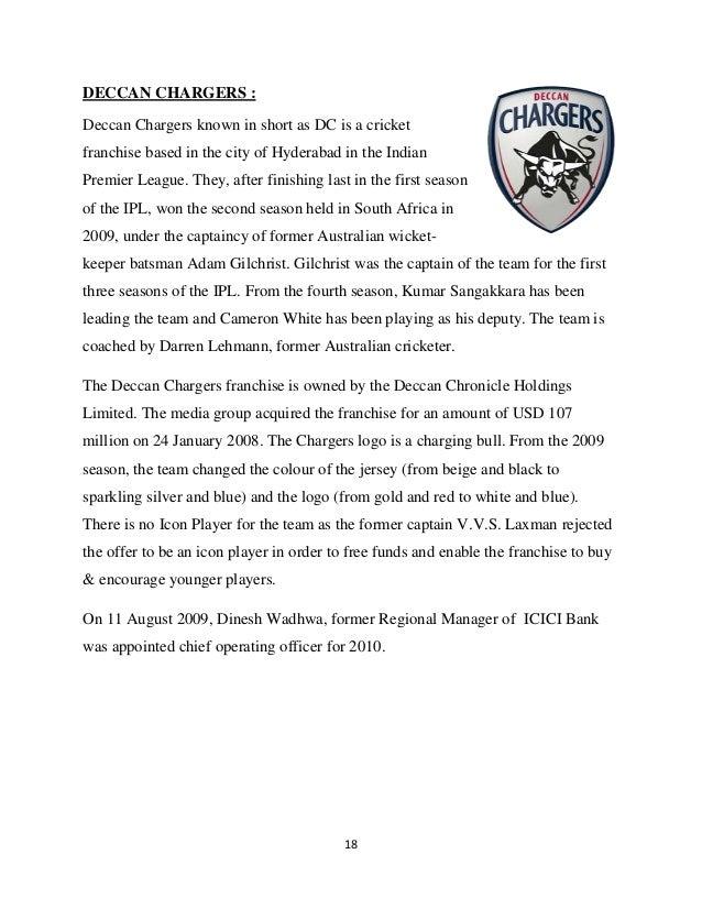 Project report on ipl indian premier league 17 18 fandeluxe Gallery
