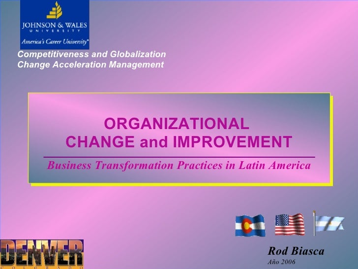 Competitiveness and Globalization Change Acceleration Management                  ORGANIZATIONAL           CHANGE and IMPR...