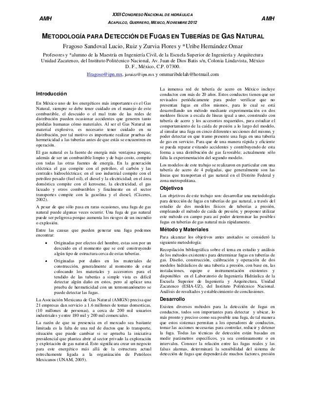 XXII CONGRESO NACIONAL DE HIDRÁULICA  AMH  ACAPULCO, GUERRERO, MÉXICO, NOVIEMBRE 2012  AMH  METODOLOGÍA PARA DETECCIÓN DE ...