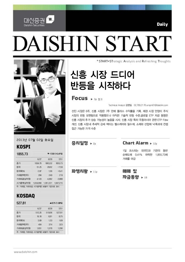 www.daishin.com Daily * START=STrategic Analysis and Refreshing Thoughts 신흥 시장 드디어 반등을 시작하다 Focus ▶ 3p 참고 Technical Analys...