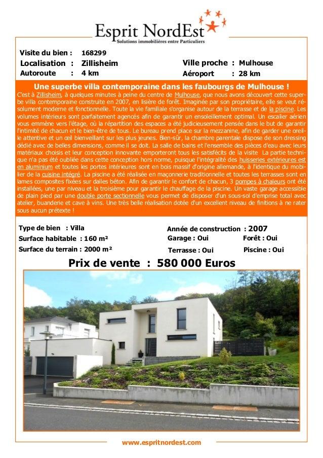 Une superbe villa contemporaine dans les faubourgs de Mulhouse ! C'est à Zillisheim, à quelques minutes à peine du centre ...