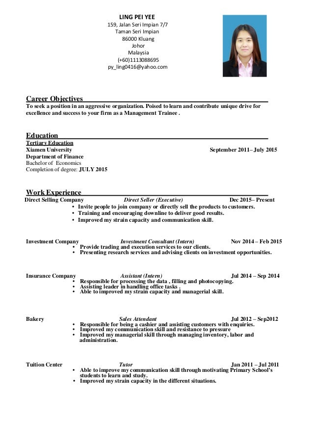 Resume - Management Trainee (LING PEI YEE)