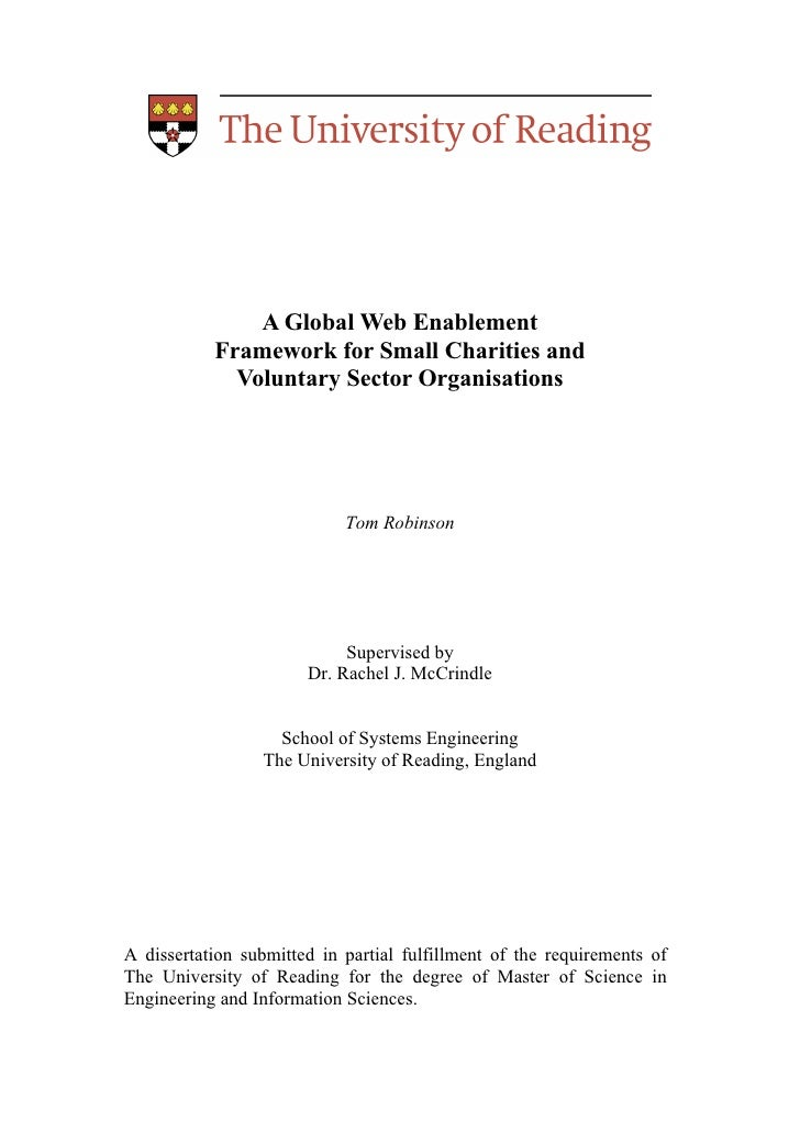 A Global Web Enablement           Framework for Small Charities and             Voluntary Sector Organisations            ...