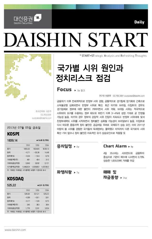 www.daishin.com Daily 투자전략부 이은주 02.769.3091 eunjoolee@daishin.com * START=STrategic Analysis and Refreshing Thoughts 국가별 시...