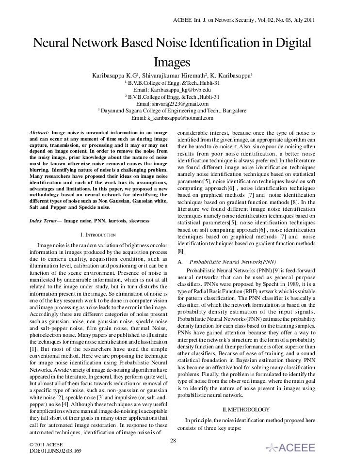 ACEEE Int. J. on Network Security , Vol. 02, No. 03, July 2011 Neural Network Based Noise Identification in Digital       ...