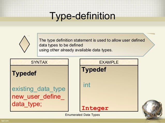 ... 12Enumerated Data Types; 13. Type Definition ...