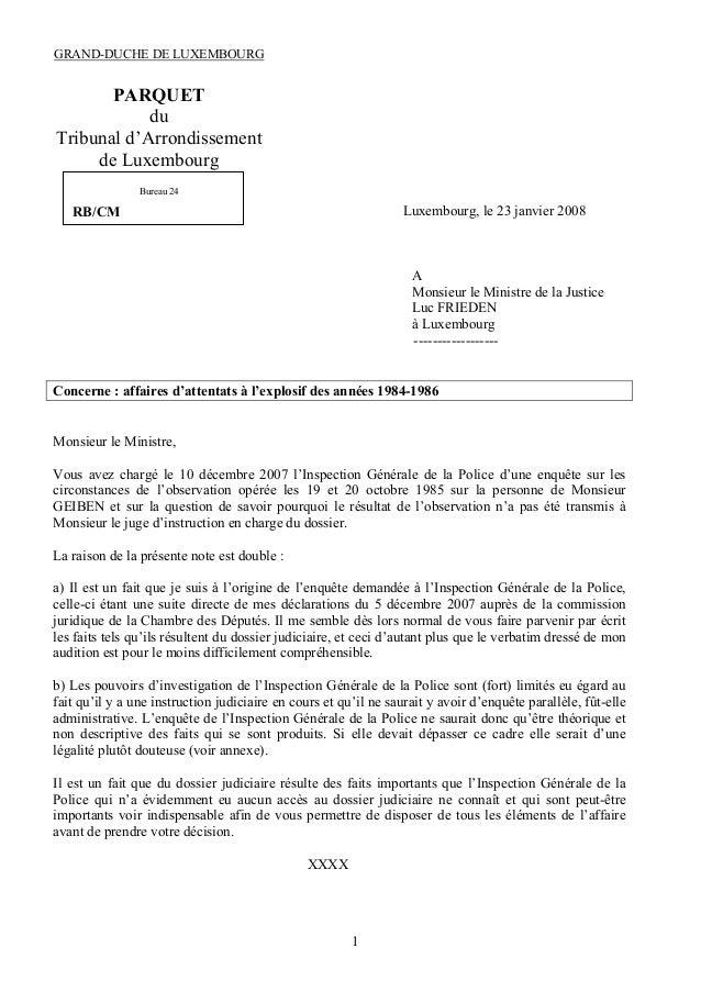 GRAND-DUCHE DE LUXEMBOURG  PARQUET du Tribunal d'Arrondissement de Luxembourg Bureau 24  Luxembourg, le 23 janvier 2008  R...