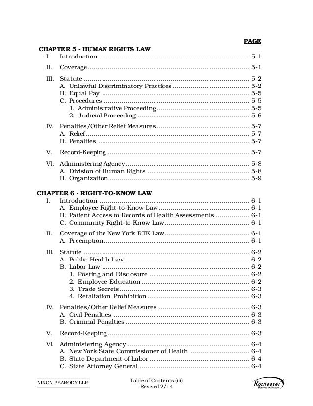 NIXON PEABODY LLP PAGE CHAPTER 5 - HUMAN RIGHTS LAW I. Introduction..........................................................
