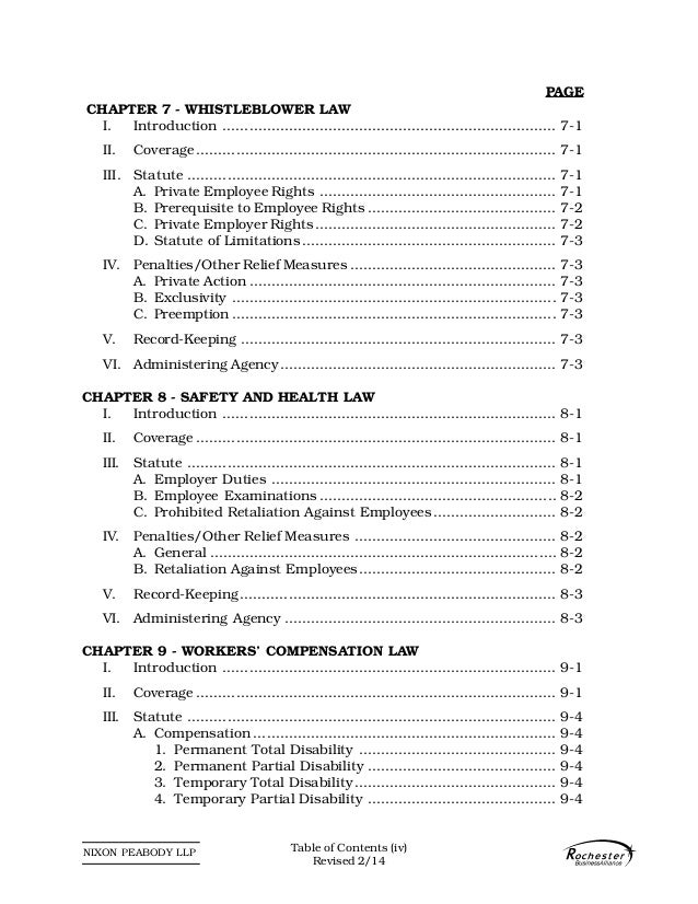 NIXON PEABODY LLP PAGE CHAPTER 7 - WHISTLEBLOWER LAW I. Introduction ........................................................