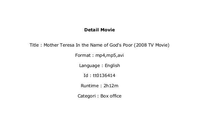 watch Mother Teresa In the Name of God's Poor (2008 TV Movie