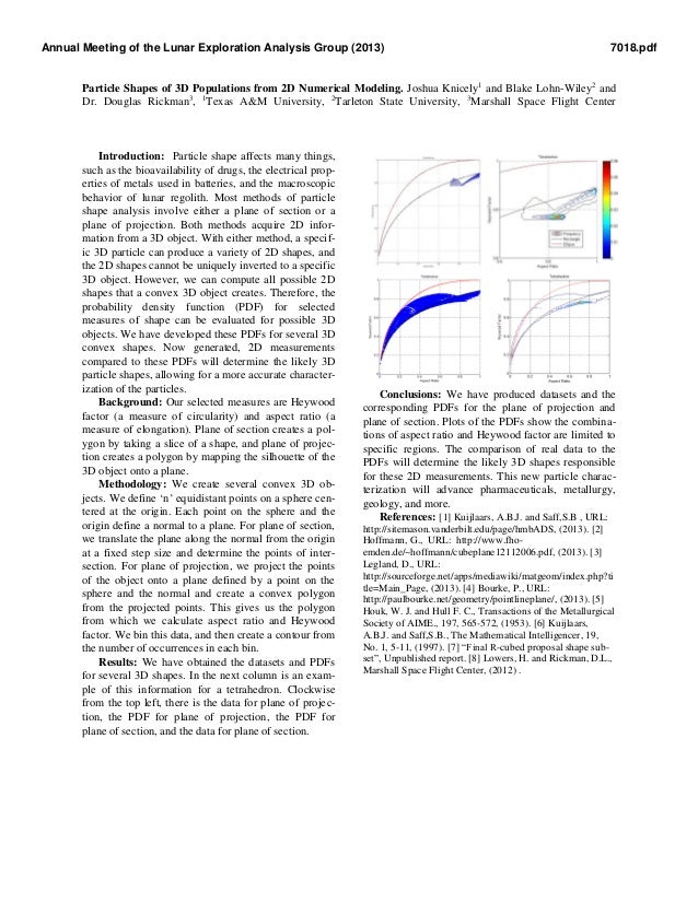Particle Shapes of 3D Populations from 2D Numerical Modeling. Joshua Knicely1 and Blake Lohn-Wiley2 and Dr. Douglas Rickma...