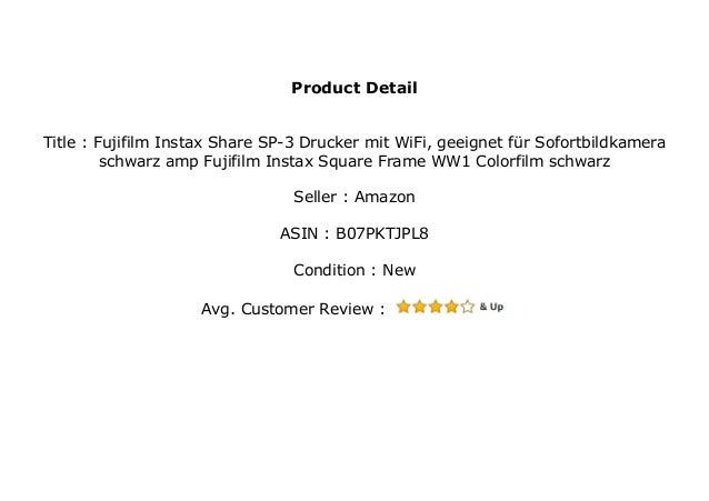 Fujifilm Instax Share SP-3 Drucker mit WiFi, geeignet f/ür Sofortbildkamera schwarz /& Fujifilm Instax Square Frame WW1 Colorfilm schwarz