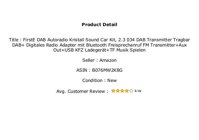 Firste Dab Autoradio Kristall Sound Car Kit 2 3 034 Dab Transmitter