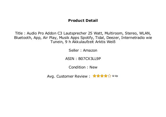 Audio Pro Addon C3 Lautsprecher 25 Watt, Multiroom, Stereo, WLAN, Blu…
