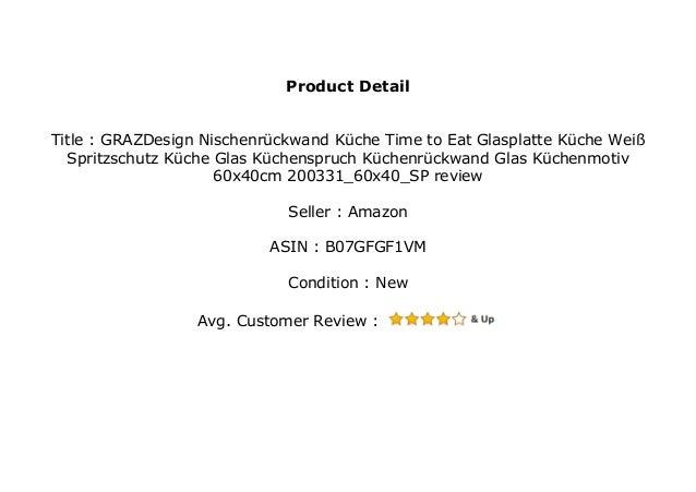 GRAZDesign Nischenr ckwand K che Time to Eat Glasplatte K ...