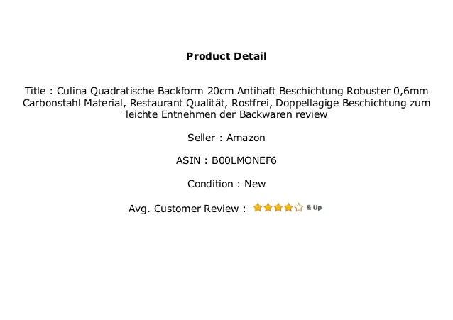 Rostfrei Doppellagige Beschichtung zum leichte Entnehmen der Backwaren Restaurant Qualit/ät Culina Quadratische Backform 20cm Antihaft Beschichtung Robuster 0,6mm Carbonstahl Material