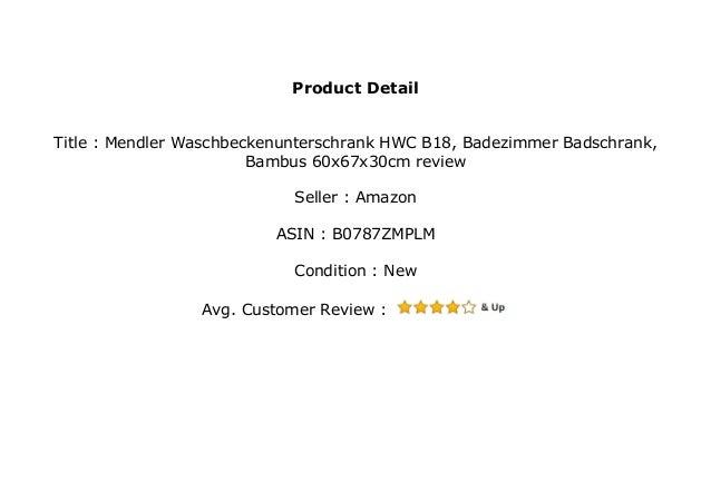 Mendler Waschbeckenunterschrank Hwc B18 Badezimmer Badschrank Bambu