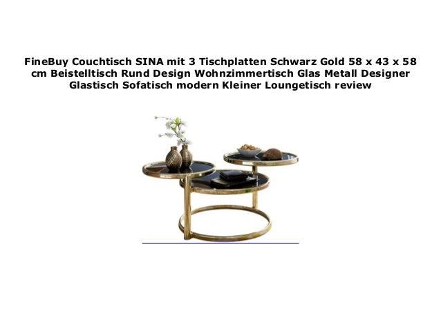 Finebuy Couchtisch Sina Mit 3 Tischplatten Schwarz Gold 58 X