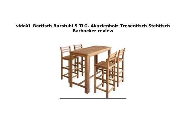 Stehtisch Tresentisch Barstuhl vidaXL Massivholz Bartisch mit Barhocker 5-tlg
